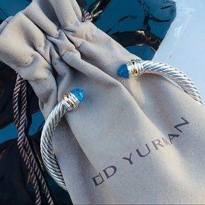 DAVID YURMAN 14K Blue Topaz Cable Classic Bracelet